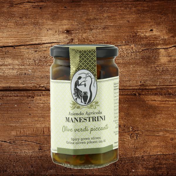 Olive verdi piccanti (pikante Oliven)
