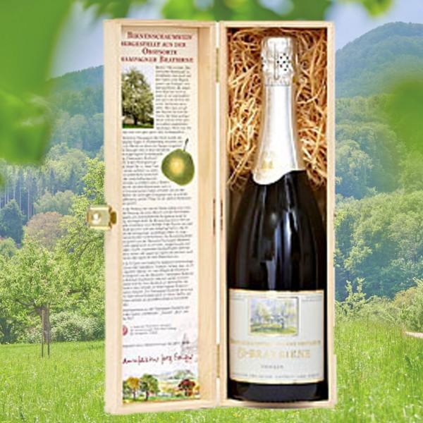 Birnenschaumwein CBB halbtrocken 0,75l - Holzkiste