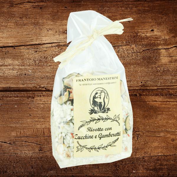 Risotto con zucchine e gamberetti (mit Zucchini und Garnelen)